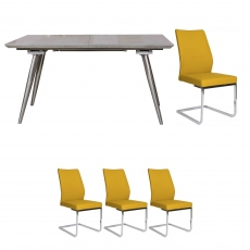 Detroit - Extending Dining Table & 4 Ochre Chairs