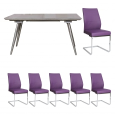 Detroit - Extending Dining Table & 6 Purple Chairs