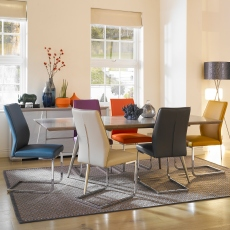 Detroit - Extending Dining Table & 6 Orange Chairs