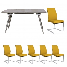 Detroit - Extending Dining Table & 6 Ochre chairs