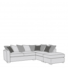 Layla - Pillow Back 2 Seat Sofa LHF Arm With RHF Chaise Unit Including Footstool In Fabric