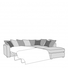 Dallas - Pillow Back 2 Seat Sofabed LHF Arm with RHF Chaise Unit Including Footstool