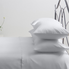 Hotel Stripe White Single Duvet Set