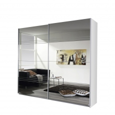 Reflection - 181cm 2 Door Sliding Robe White/Mirror