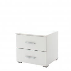 Amalfi - 2 Drawer Bedside In AN925 Alpine White Carcase/White High Polish Front