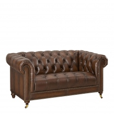 Churchill - 2 Seat Sofa In Leather Vintage LLS Cognac 1806/Antique Brass Studs With Mahogany Feet