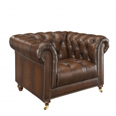 Churchill - Club Chair In Leather Vintage LLS Cognac 1806/Antique Brass Studs With Mahogany Feet