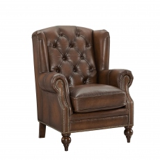 Churchill - Wing Chair In Leather Vintage LLS Cognac 1806/Antique Brass Studs With Mahogany Feet