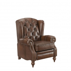 Push Back Wing Chair In Leather - Churchill