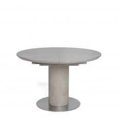 Indus - Circular Ext. Table Concrete Effect Finish