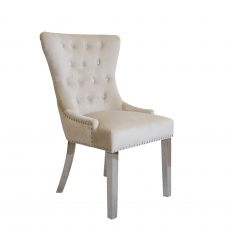 Corinthia - Quilted Back Dining Chair In Beige Velvet With Lion Head Handle