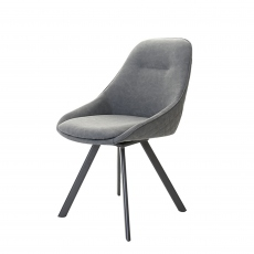 Daniel  - Swivel Dining Chair In Dark Grey Velvet