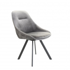 Daniel  - Swivel Dining Chair In Blue Velvet
