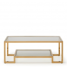 Frame  - Coffee Table Clear Glass Champagne Finish Frame