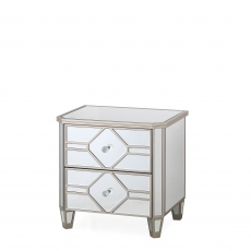 Ruby - 2 Drawer Mirrored Bedside Chest