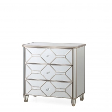3 Drawer Mirrored Chest - Ruby