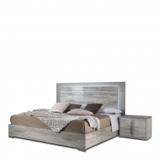 Harper - 150cm Wooden Bedframe Ash/High Gloss Finish with Slats