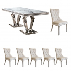 Missano - 200cm Dining Table With 6 Metropole Beige Chairs