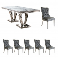 Missano - 200cm Dining Table With 6 Metropole Grey Chairs