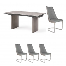 Barcelona - 160cm Extending Dining Table & 4 Marius Chairs Light Grey PU