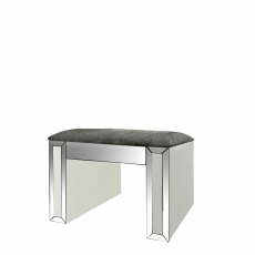 Bianca - Dressing Stool Silver & White Mirror