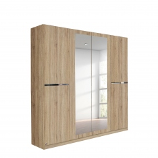 Alpen - 181cm 4 Door Hinged Robe With 2 Mirrors (210cmH) In A4M06 Sonoma Oak