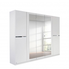 Alpen - 226cm 5 Door Hinged Robe With 3 Mirrors (210cmH) In AN806 Alpine White