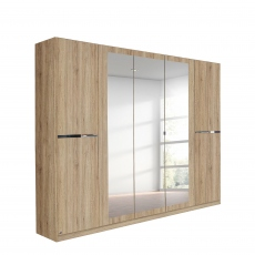Alpen - 226cm 5 Door Hinged Robe With 3 Mirrors (210cmH) In A4M06 Sonoma Oak