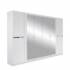 Alpen - 271cm 6 Door Hinged Robe With 4 Mirrors (210cmH) In AN806 Alpine White