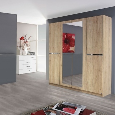 Alpen - 271cm 6 Door Hinged Robe With 4 Mirrors (210cmH) In A4M06 Sonoma Oak