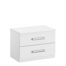 Alpen - 50cm 2 Drawer Bedside Table In AN806 Alpine White