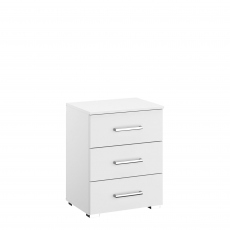 Alpen - 50cm 3 Drawer Bedside Table In AN806 Alpine White