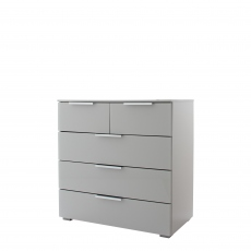 Strada - 80cm 5 Drawer Chest In A030G Silk Grey Carcase and Glass Chrome Handles