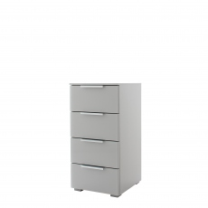 Strada - 40cm 4 Drawer Chest In A030G Silk Grey Carcase and Glass Chrome Handles