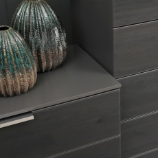 40cm 4 Drawer Chest In A030G Silk Grey Carcase and Glass Chrome Handles - Strada