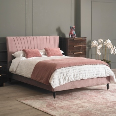 Diana - Bed Frame In Velvet With Black Leg/Chrome Tip