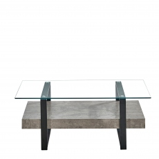 Faraday - Coffee Table Concrete Effect/Glass