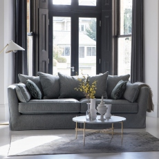 Fixed Cover Standard Back Snuggler Sofa In Fabric - Collins & Hayes Maple