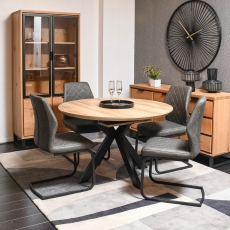 Rochester  - 120cm Round Extending Dining Table Oak Finish Top