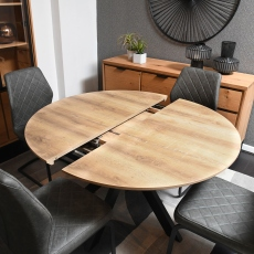 120cm Round Extending Dining Table Oak Finish Top - Rochester