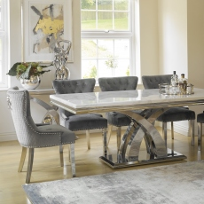 200cm Dining Table In Bone White With 6 Corinthia Chairs - Grey Velvet