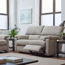 Crafton - Cuddler Sofa Power Recliner In Aqua Clean Fabric