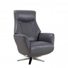 Diplomat - Power Swivel Recliner Chair In Leather Match Iron with Satin Nickel Base