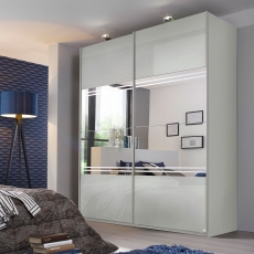 Marlow - 271cm Gliding Door Wardrobe - Mirror with Glitter Stripes in Alpine White