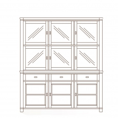 Porto - 3 Door Sideboard With Glass Door Top  Oak