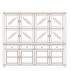 Porto - 4 Door Sideboard With Glass Door Top  Oak