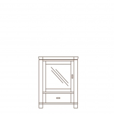Porto - Stereo Base RH Glass Door Oak