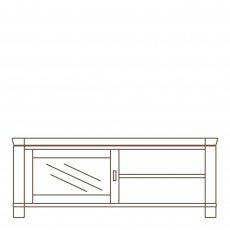 Porto - Wide Media Unit Glass Door Oak