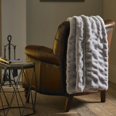 Vermont Textured Faux Fur Throw Ice Grey