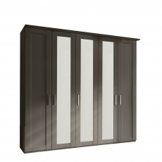 Milton  - 5 Door 250cm Hinged-door Wardobe With 3 Doors Mirrored